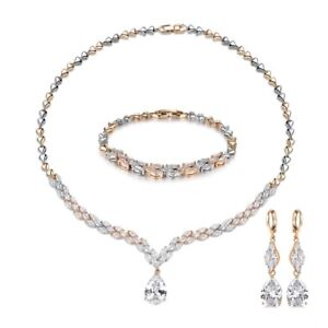 3ea8b52a2 Image is loading Women-Pear-Swarovski-Crystal-Gold-Filled-Earrings-Necklace-