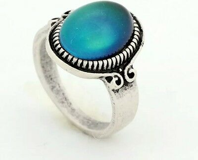 VINTAGE ANTIQUE STYLE SILVER MOOD RING 70S BOHEMIA UNISEX EAGLE MENS sz 12