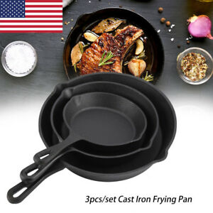 3PC-Cast-Iron-Skillet-Oven-Fry-Pan-Pot-Cookware-Deep-Frying-Kitchen-BBQ-Tool
