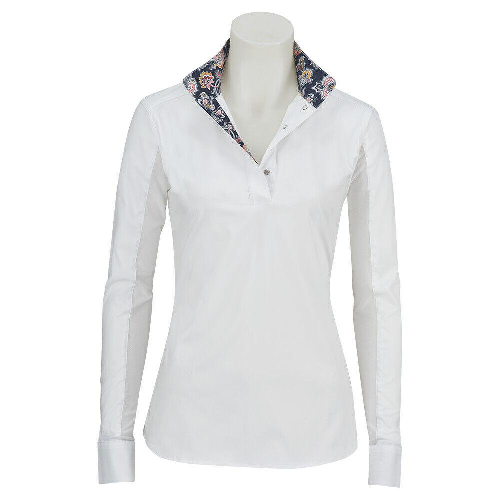 R680Q RJ Classics Ladies Rebecca Show Shirt White with Paisley Trim NEW