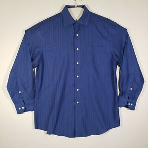 TOMMY-BAHAMA-Mens-Button-Up-Shirt-16-32-33-Blue-Striped-100-Cotton-Long-Sleeve