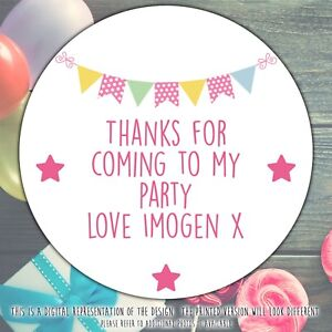 Personalised-Pink-Bunting-Birthday-Party-round-stickers-labels-party-cone-sheet
