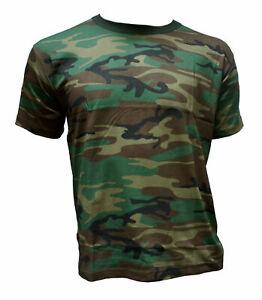 Herren-T-Shirt-Camouflage-Outdoor-Tarnmuster-Militaer-Baumwolle-woodland-Army-US