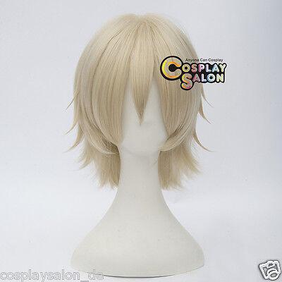 Anime Cosplay Wig Hell Blond 30cm Perücke Hitzefest Layered Kurz Gewellte Haar