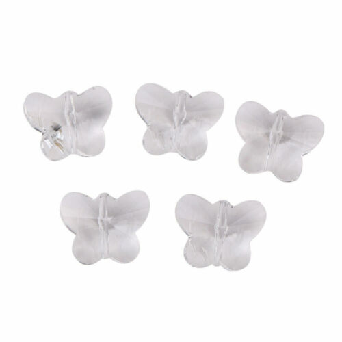 10pcs 14mm Wholesale Faceted Glass Crystal Butterfly Loose Spacer Beads Findings