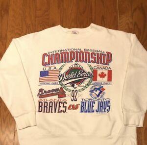Toronto Blue Jays Sweatshirt - Atlanta Braves 1992 World Series white crewneck sweatshirt YO2dVpHpg