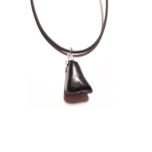 Collar-Colgante-Shungit-natural-Rodado-en-plata-de-ley-Hombre-Mujer-Amuleto-de-p