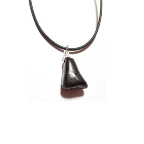Collar Colgante Shungit natural Rodado en plata de ley Hombre Mujer Amuleto de p