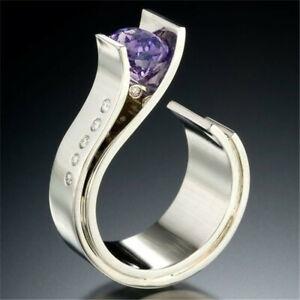Trendy-925-Silver-Amethyst-Ring-Women-Men-Wedding-Jewelry-Party-Gift-Size-6-10