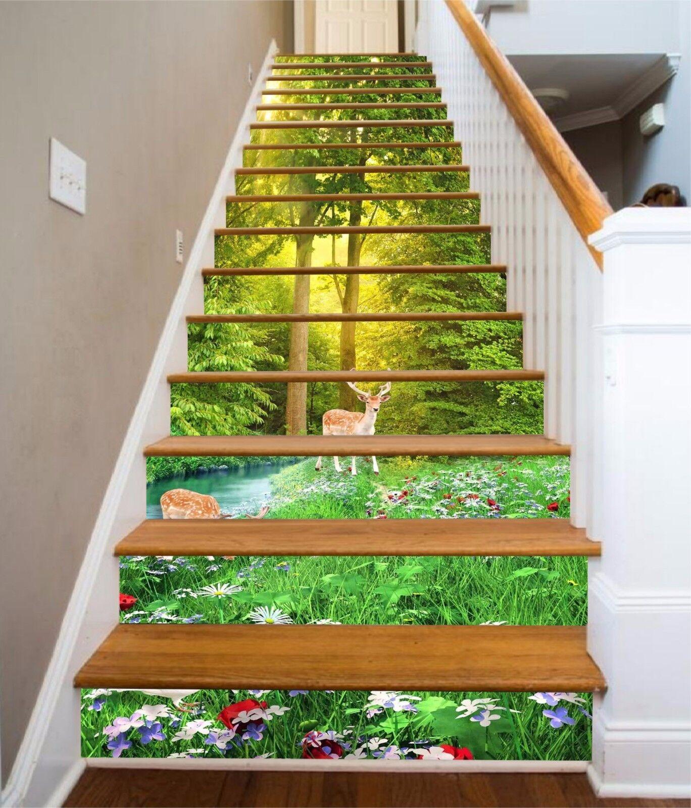 3D Forest Deer 976 Stair Risers Decoration Photo Mural Vinyl Decal Wallpaper AU
