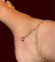 Exotic Dancer Heart Chain Gold Tone Anklet Cute Lil Crystal ;)