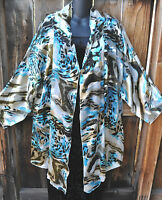 Art To Wear Spring White W/colors Silk Kimono Swing Jacket By Aris.a, Os+, 65b