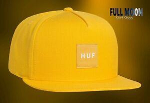 NEU-HUF-Box-Logo-Gelb-Herren-Snapback-Cap-Muetze