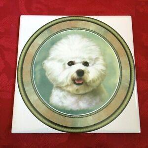 Tile Trivet Bichon Frise New Handmade Ceramic Porcelain 6 X 6 Kiln Fired Ebay