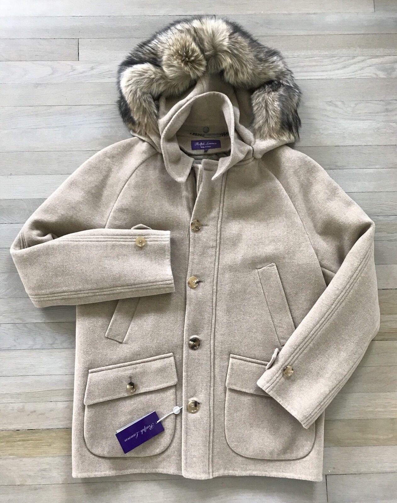 4,000 Ralph Lauren lila Label 3-in-1 Wool and Fur Parka Größe L Made in