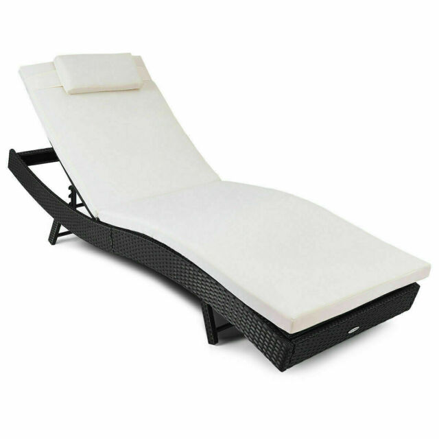44195443fe All-weather Adjustable Outdoor Pool Patio Chaise Lounge Furniture Chair  Cushion