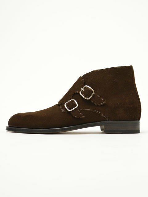 Men Double Monk Strap Chelsea Boot,Brown Suede Chukka Boot,Jodhpur Ankle Boots