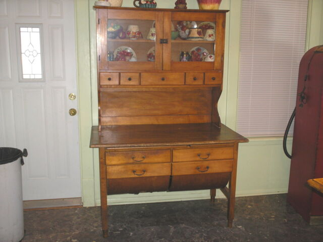 2 PIECE BAKERS CABINET CIRCA 1900 POSSUM BELLY DRAWERS/SPICE/CUTTING BOARD