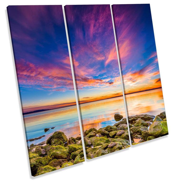 Sunset Seascape Scene Beach TREBLE CANVAS WALL ART Square Picture Print