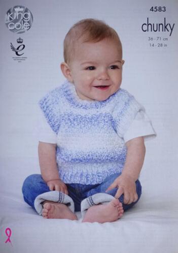 Bebé Tejer patrón bebés fácil de punto sin mangas puentes Grueso King Cole 4583