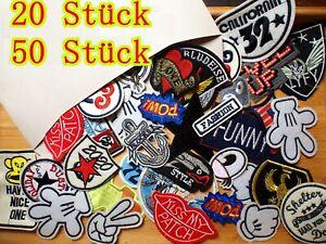20-Stueck-Patch-Set-Paket-Stickmotive-genaeht-zum-Aufnaehen-Aufbuegeln-Flicken-DIY