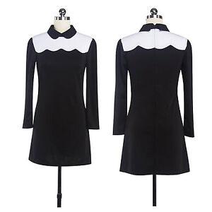 Elegant-Women-Long-Sleeve-Peter-Pan-Collar-Pleated-Dress-Short-Mini-Swing-Dress