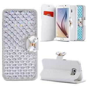 Diamond-Magnetic-Leather-Wallet-Case-Card-Slots-Stand-Cover-for-Samsung-iPhone