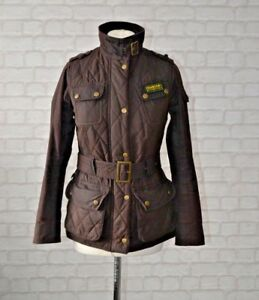 Size 8 Barbour Brown Motorcycle Quilted Jacket Waxed International Y06n0xOS