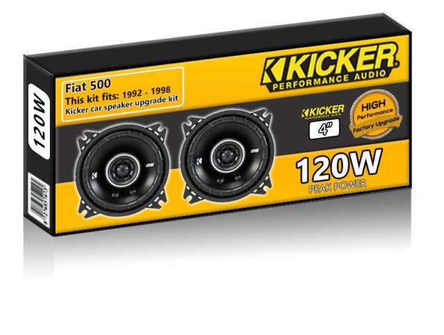 "Fiat 500 Front Dash Speakers Kicker 4"" 10cm car speaker kit 120W"