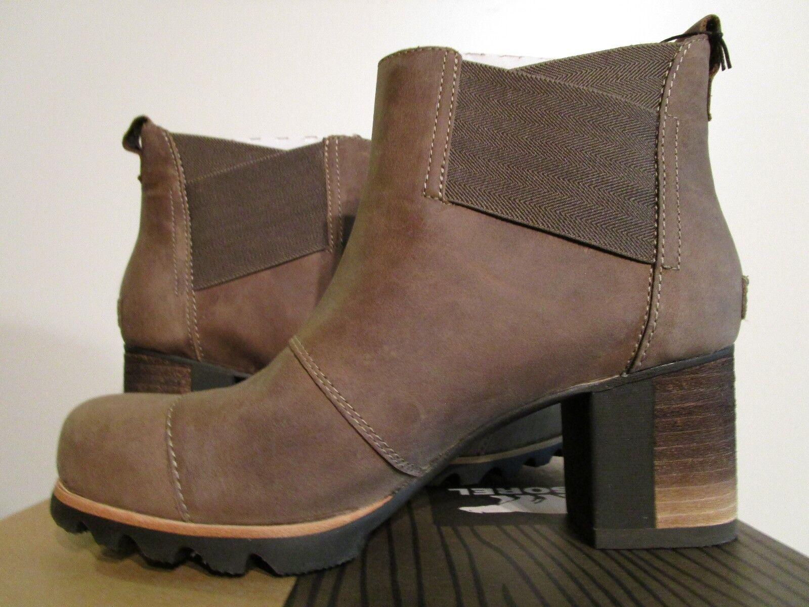 Womens Sorel Addington Chelsea Leather Fashion Pull On Waterproof Boots - Pebble