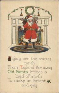 Christmas-Santa-Claus-From-Toyland-Far-Away-Poem-c1920-Postcard