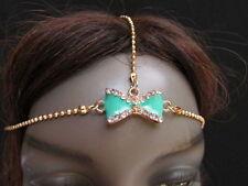 New Women Head Chain Fashion Gold Metal  Jewelry Center Bow Rhinestones Headband