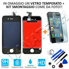TOUCH SCREEN VETRO SCHERMO + LCD DISPLAY ASSEMBLATO PER IPHONE 4 NERO 4G + FRAME