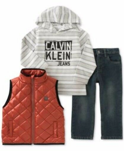 Calvin Klein Boys 3pc Orange Puffy Vest Denim Pants Hooded Top Outfit Size 5