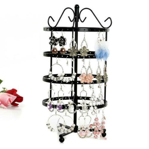 144 Holes 4 Tiers Round Rotatable Display Earring Women Jewelry Stand Rack Kit