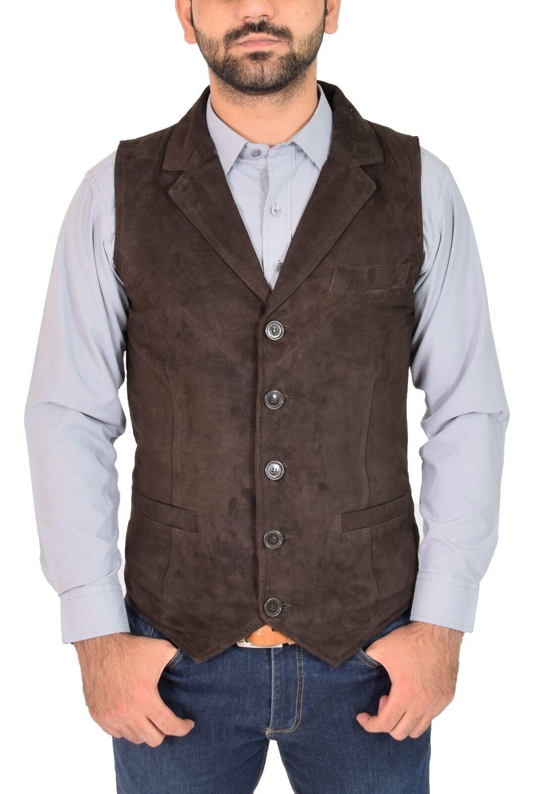 Mens Genuine Brown Suede Waistcoat Soft Leather Gilet Classic Western Vest Yelek