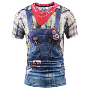 Women Men Funny Overalls Jeans 3D Print Casual T-Shirt Tee Tops Short Sleeve