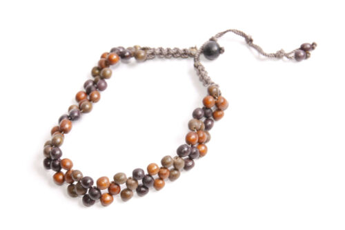 Fashionable Women Brown/&Ginger Beads Three Rows Choker//Necklace S551