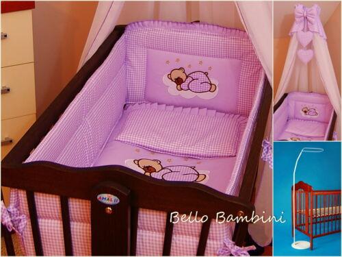 Crib Canopy Drape+all round bumper 260cmlong for SwingingCrib//Cradle+Floor Stand