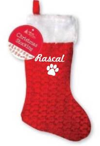 Personalizzato-Animale-Domestico-Natale-calza-paw-print-Dog-SANTA-il-tuo-nome-NATALE-CAGNOLINO