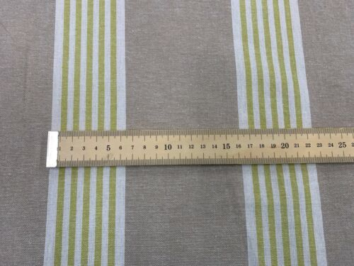 Padstow  Woven Stripe Cotton OCHRE LIME Ivory 140cm Wide Curtain Fabric