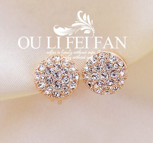 New Fashion Women Lady Elegant circle Crystal Rhinestone Ear Stud Earrings E112