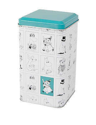 Moomin Tin Can Moomin Characters White with Turquoise Lid  Martinex Finland