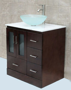 30 Bathroom Vanity 30 Inch Cabine White Top Glass Vessel Sink