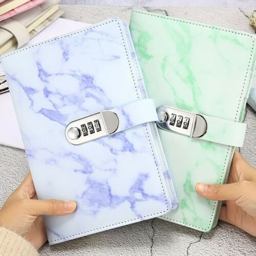 Code Lock Password PU Leather Notebook Secret Diary Lined Travel Journal Gifts