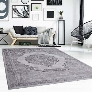 Details zu Teppich Flachflor Ornamente Orientalisch Grau Modern Wohnzimmer