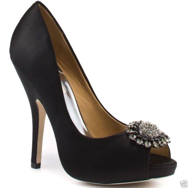Badgley Mischka Lissa Mariage Soirée Sandales Bout Ouvert Pompe Chaussures Noir 6