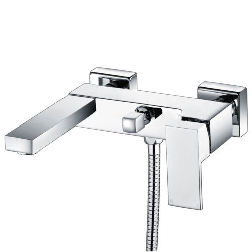 Modern Chrome Wall Mounted Bath Shower Mixer Tap With 3 Way Rigid Riser Shower