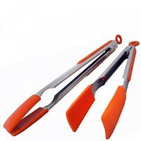 Easy Grip Silicone Kitchen Tongs, Stainless Steel Set Of 2 12 And 9 Inch on sale