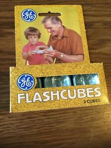 "Vintage GE Flashcubes - Set Of 3 Cubes New in Orig Box!  ""Guaranteed 12 flashes"""